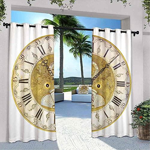 Reloj para exteriores con diseño vintage con números romanos y números romanos, con temática vintage de un siglo XVII, ideal para pabellones de terraza al aire libre, 108 x 96 pulgadas, dorado y negro