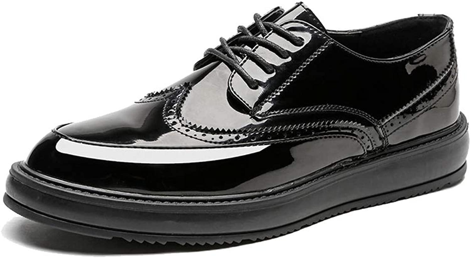 JUJIANFU-shoes Men's Simple Fashion Oxford Casual Classic Carvings Breathe Comfortably Outsole Brogue shoes(Patent Leather Optional)