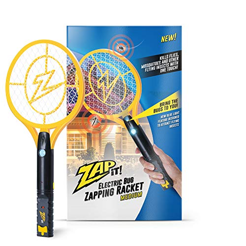 ZAP IT! Bug Zapper - Rechargeable Mosquito, Fly Killer and Bug Zapper Racket with Blue Light Attractant (Medium)