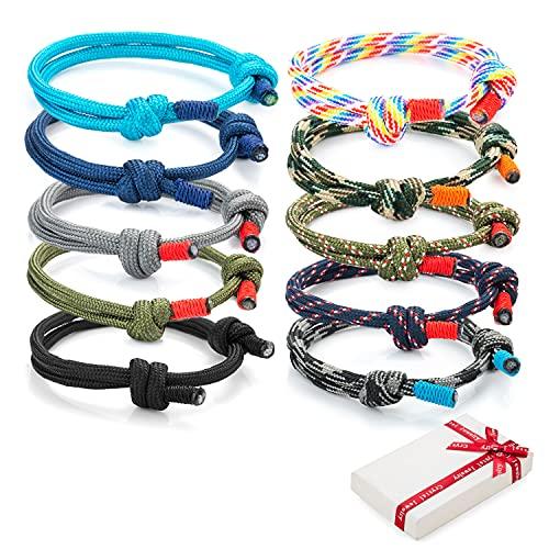 Juego de 10 pulseras trenzadas geniales para hombre mujer, pulsera de surf náutica colorida con cordón de cuerda marina para hombres niños, pulseras ajustables hechas a mano azul marino de regalo