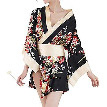 Short Kimono Robe Adult Sexy Floral Deep V-Neck Satin Nightwear Bathrobe Japanese Outfit Black