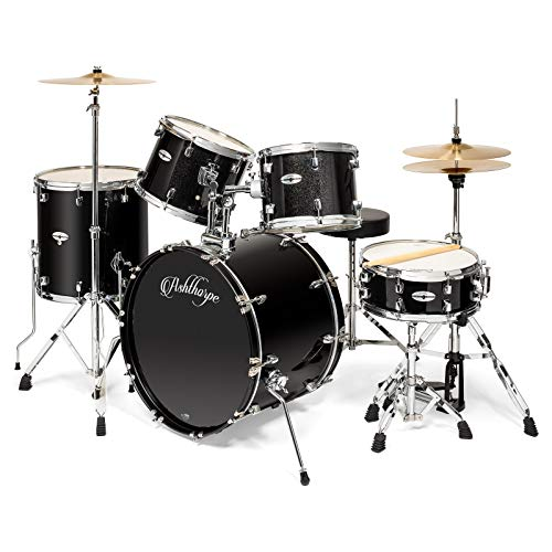 Ashthorpe 5-Piece Full Size Adult Drum Set with Remo Heads & Premium Brass Cymbals - Complete Professional Percussion Kit with Chrome Hardware - Black