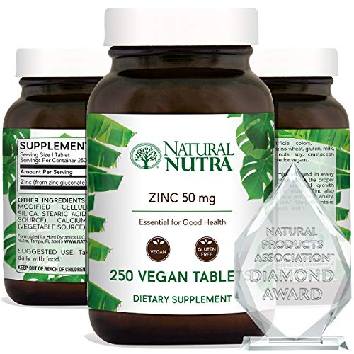 Natural Nutra Zinc Gluconate 50mg Supplement for Healthy Immune Support, Healthy Skin, Boosts Learning Memory, Enhance Taste and Smell Supplements, Gluten Free 50mg 250 Vegan Tablets