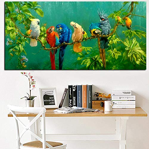 YB artistieke papegaai vogel op takken hout landschap olieverfschilderij op canvas poster print wandschilderij voor woonkamer cuadros Decor-60x120_cm_unframed