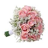 ウェディングブーケ 造花 ブライダルフラワー ピンクバラの 造花の ブーケ花嫁の結婚式デコレーション 結婚式、祭り、約束に使用されます。