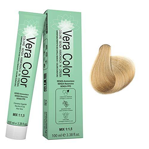 Vera Color - 9 Blond Super Clair - Teinture Permanente Professionnelle Sans Ammoniaque - Crème Colorante à la Kératine Végétale, Aloe Vera, Baies de Goji - Couverture Totale des Cheveux Gris - 100 ml