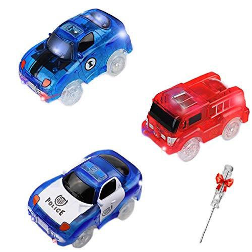 ZYDTRIP Track Cars, 3 Stück Rennauto Rennwagen mit LED Licht, 5 LED Blinklichtern Race Cars Autorennbahn Spielzeug Auto, Geschenke für Kind