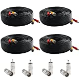 Postta BNC Video Power Cable (4 Pack 150 Feet) Pre-Made All-in-One Video Security Camera Cable Wire with Eight Connectors for CCTV DVR Surveillance System