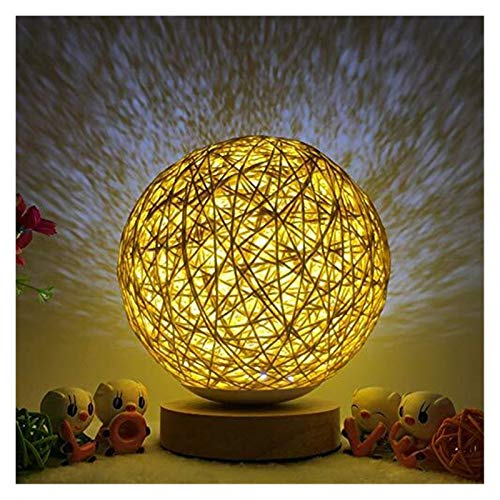 GYW LED Wood Table Lamp, Creative Wood Rattan Spherical Ball Bedside Night Light With Hand Knitted Lampshade Bedroom Decorative Bedside Lamp