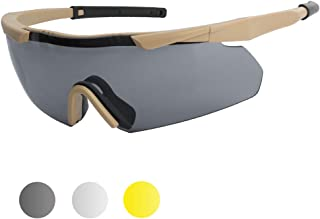 XAegis Tactical Eyewear 3 Interchangeable Lenses, Outdoor Antifog Safety Glasses & Hard Shell Case - Unisex Shooting Glasses Cycling,Driving,Hiking,Fishing,Hunting