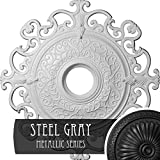 Ekena Millwork CM38OLSGS Orleans Ceiling Medallion, 38 3/8'OD x 6 5/8'ID x 2 7/8'P (Fits Canopies up to 8 1/4'), Hand-Painted Steel Gray