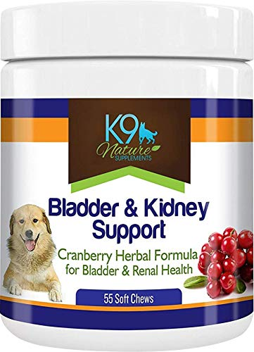 K9 Nature Supplements: Bladder & Kidney Support - 55 Soft Chews - Cranberry Herbal Formula for Dogs - Urinary Tract and Renal Support - Great for Senior and Spayed Pets