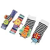Rodipu Juguete para Colgar Calcetines para bebés, Respetuoso con el Medio Ambiente, portátil, pequeño paño de sonajero, Formas Lindas, Correa de muñeca para bebés, para(A Set of Wristband Socks)