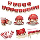 Qtinghua 118 Pcs Christmas Decorations Dinnerware Set Disposable Cartoon Santa Snowman Party Tableware Serves 16 Guests with Banner Christmas Party Supplies for Home Party (Red White, One Size)