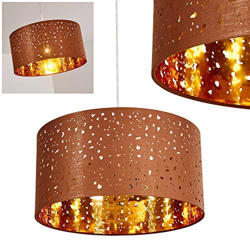 Pendelleuchte Nivel, moderne Hängelampe aus Metall/Textil in Braun/Gold, Ø 40 cm, Höhe max. 170 cm, E27 max. 60 Watt, geeignet für LED Leuchtmittel
