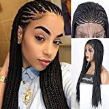 RDY 13×4 Braids For Women 24' Hand Braided Lace Front Wig Natural Black Braiding Wigs With Baby Hair Long Box Braids With 180% Density Premium Fiber Comfortable Swiss Lace For Daily Wear (24 Inches)