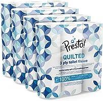 Marchio Amazon - Presto! Carta igienica trapuntata a 3 veli - Conf. da 36 rotoli (4 x 9x 200 strappi)- Motivo: Gemma