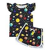 Idgreatim Conjunto de pijama para niñas con diseño de unicornio, arco iris, manga corta y pantalones cortos para niños de 2 piezas, conjunto de pijama de dibujos animados para niños de 1 a 5 años