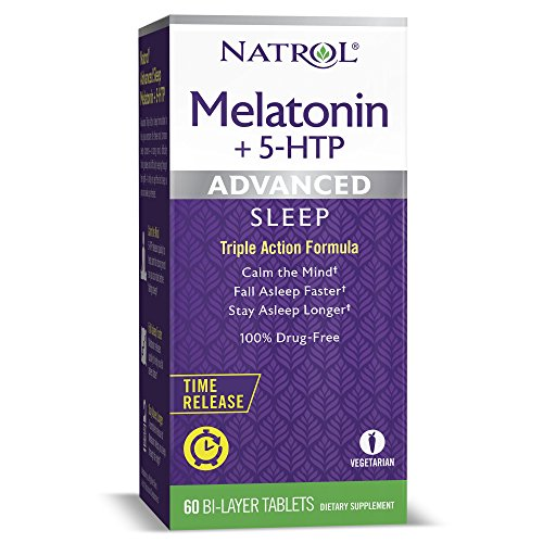 Natrol Melatonin + 5 HTP Advanced Sleep Time Release Bi-Layer Tablets, Triple-Action Formula, Calm the Mind, Helps You Fall Asleep Faster, Stay Asleep Longer, 100% Drug-Free, 10mg, 60 Count