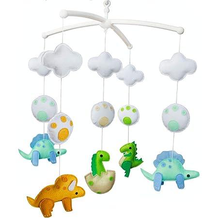 Baby mobile dinosaur nursery mobile Hanging musical mobile Baby mobile boy with jungle for crib cot Dino baby mobile kit Nature felt mobile