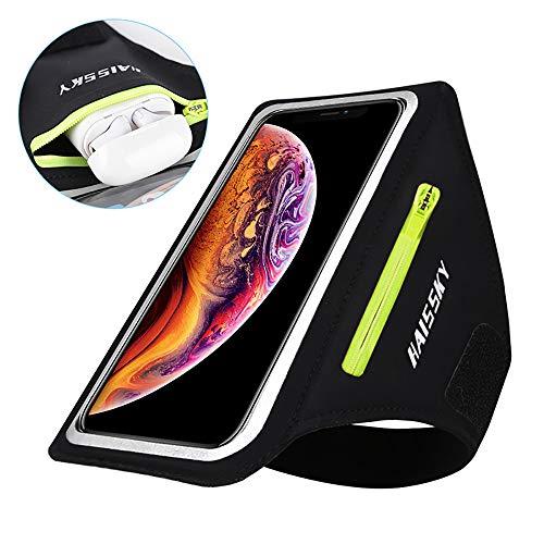 HAISSKY Handy Schweißfest Sportarmband Mit Airpods Halter für iPhone 11/11 Pro/XR/XS/X/8 Plus/7 Plus/8/7/6s/6,Huawei P20 Pro / P30 Pro/Mate 20 Xiaomi,LG Mit Kabelfach/Kartenhalter (Schwarz)
