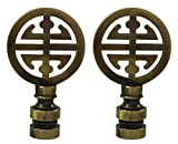 Royal Designs Oriental Happiness Symbol Lamp Finial for Lamp Shade-Antique Brass Set of 2