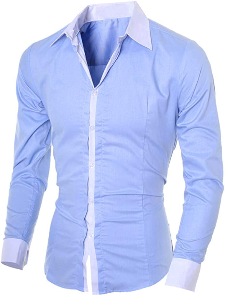 VEKDONE Mens Casual Dress Shirts Slim Fit Long Sleeve Business Button Down Collar Work Shirts Tops