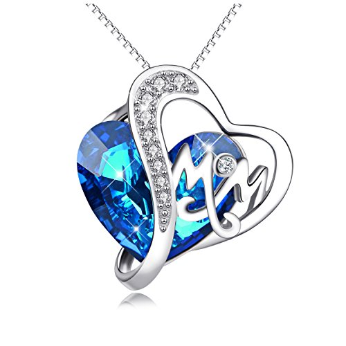 Mom Necklace 925 Sterling Silver Pendant Necklaces with Blue Heart Swarovski Crystals Jewelry for Mom Birthday Gift Mother in law Gifts for Mother-to-be Grandmom