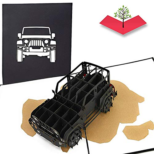 PopLife Jeep Truck Pop Up Card for All Occasions - Happy Birthday, Graduation, Congratulations, Retirement, Work Anniversary, Fathers Day - SUV Drivers, Off-Road, 4X4 Car - Folds Flat for Mailing