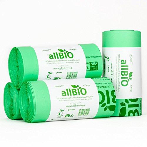 AllBIO 100 x 30 liter zakken 30 liter 100% biologisch afbreekbare & composteerbare zakken voor de keukenvuilnisemmer/vuilnisbak