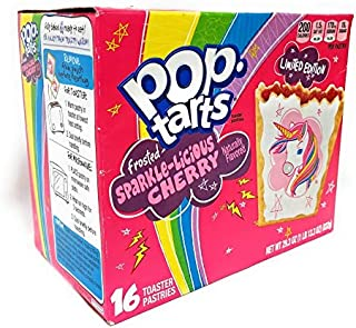 Pop Tarts Sparkalicious Cherry, Limited Edition Unicorn 16 Count, 29.3 oz (1 lb 13.3oz)