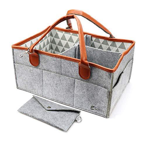 Sozer, Organizador de pañales, 38 x 25 x 17 cm, bolsa de pañales, organizador de pañales para bebé, bolsa de viaje para coche, bolsa de bebé