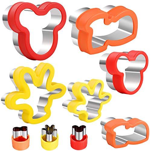 Magigift Mickey Mouse Sandwiches Keksausstecher-Set, Mickey Mouse Kopf & Handschuh & Schuhe Cartoon-Formen Sandwich-Ausstechformen Keksausstecher Gemüseschneider, 9 Stück