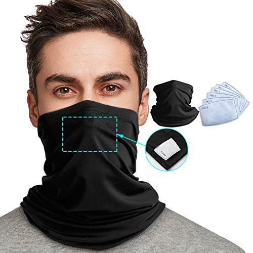 Neck Gaiter with Safety Filters Protection,Reusable Face Scarf Mask,Face Cover, Multi-Purpose Bandanas Balaclava UV Proof for Hiking, Running, Cycling,Outdoors Sports,7PCS (Black, 7)