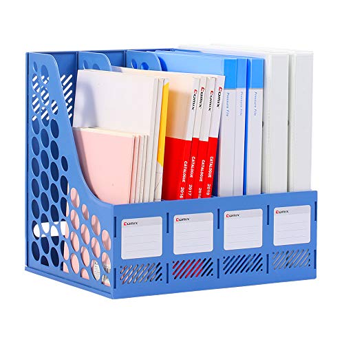 Comix Sturdy Magazine File Plastic Holder Desk Organizer File Folder for Office Organization and Storage with 4 Compartments Storage Organizer Box(Blue)
