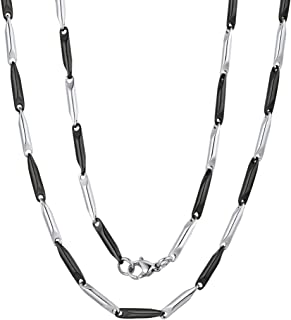 ChainsPro 3mm Clavicle Chain, Two-Tone Necklace, 316L Stainless Steel, 18/20/22/24/26/28/30 inches-(Send Gift Box)