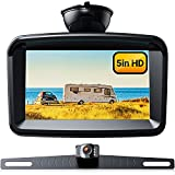 Xroose Backup Camera with 5' Monitor License Plate Mounted Back up Rearview HD Camera Night Vision + Rear View 720P Backing Up Monitor Safety Reversing for Car Pickup Truck Van Sedan SUV (Wired-S3)
