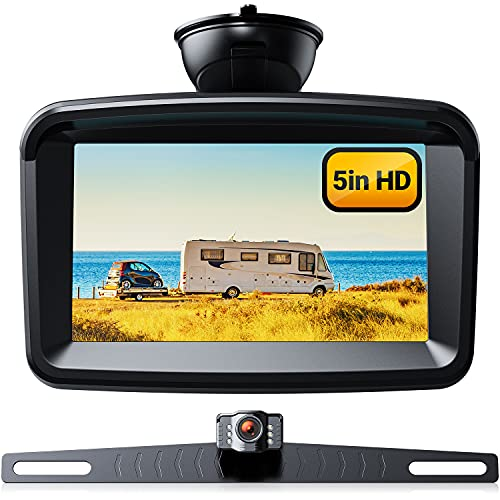 5' Monitor with 1080P Backup Camera, License Plate 149° Back up Rear View Kits for Reversing/ Driving Car Pickup Truck SUV Camper Sedan, IP69 Waterproof & Clear Night Vision, Xroose S3
