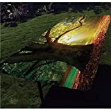 Leaves Polyester Fitted Tablecloth,Majestic Mighty Oak Tree with Largely Broader Leaves Forest Sun Rays Nature Rectangular Elastic Edge Fitted Table Cover,Fits Rectangular Tables 60x30