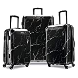 American Tourister Moonlight Hardside Expandable Luggage with Spinner Wheels, Black Marble...