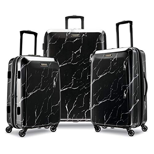 American Tourister Moonlight Hardside Expandable Luggage with Spinner Wheels, Black Marble, 3-Piece Set (21/24/28)