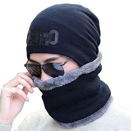 DJBNMZI Tweedelige wintermuts voor heren, met gebreide mutsen en sjaals voor warm skiën in de open lucht en een wintermuts met fluweelzachte oorbeschermer