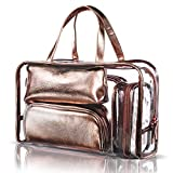 NiceEbag 5 in 1 Cosmetic Bag & Case Portable Carry on Travel Toiletry Bag Clear PVC Makeup Train Case Quart Luggage Pouch Transparent Handbag Beach Tote Bag Organizer for Men and Women (Rose Gold)