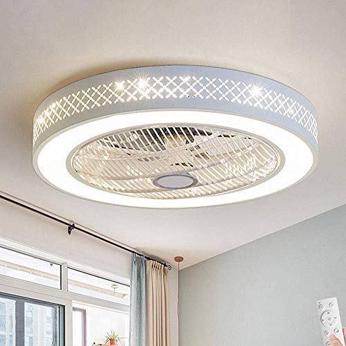 LAKIQ Ceiling Fan with Lights 3-Color Lighting Bedroom 2-in-1 LED Semi Flush Mount Ceiling Light 21.5'' Modern Close to Ceiling Lighting Fixture (Pattern A)