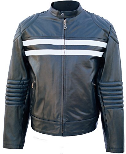 Fuente Leather Wears Lederjacke Damen Herren Nappa Leder Vintage, Motorad, Biker, Western Lederjacke, Schwarz, Rot (M, Rot)