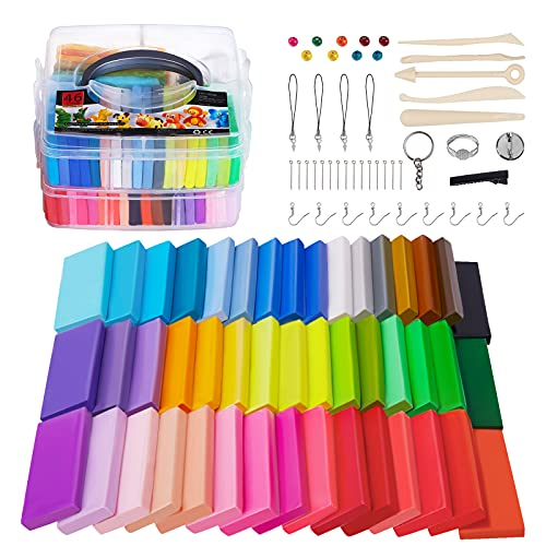 46 Colors Oven Bake Modeling Clay with Scuplting Tools and Jewelry Accessories,...