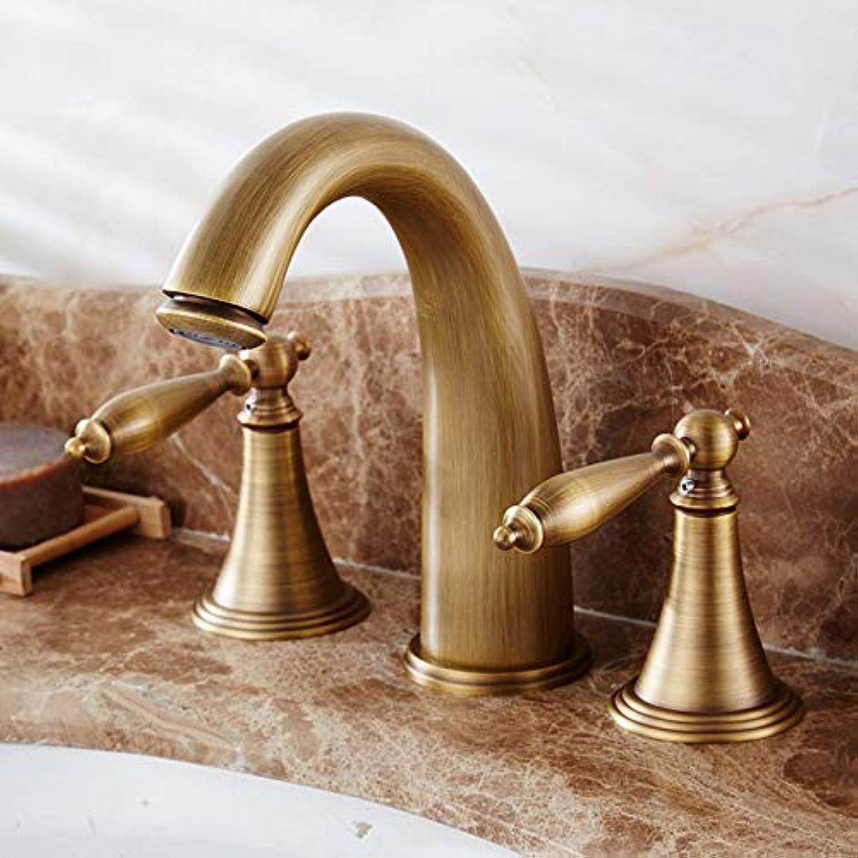 Oudan Taps Faucet Basin Faucet Antique Wash Basin Three Holes Copper Basin Double Retro Faucet C (color   -, Size   -)