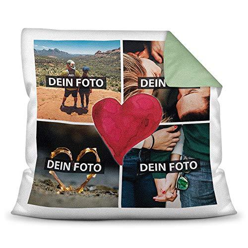 Foto-Kissen inkl. Füllung zum Selbstgestalten - mit eigener Collage Bedruckt - Liebe/ Familie/ Foto-Geschenk/ Deko-Kissen/ 40x40 - Rückseite Grün