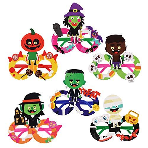 JUSTDOLIFE 5 PC Occhiali Divertenti novità Festa di Halloween Occhiali Creativi Fai da Te Fresco A Forma di Occhiali Cartoon Favori di Partito Occhiali per Bambini (6 PCS Occhiali Divertenti)