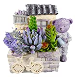 Lavendelbärchen mit Blumen und Haus 14 x 14 cm Lavendel Bär Figur Deko GODE C63